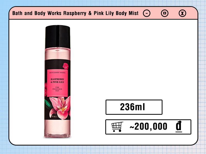 Body Mist Bath and Body Works Raspberry & Pink Lily