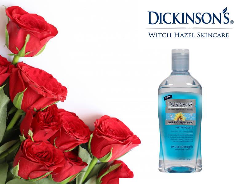 Nước hoa hồng Dickinson's Witch Hazel Astringent – chai màu xanh